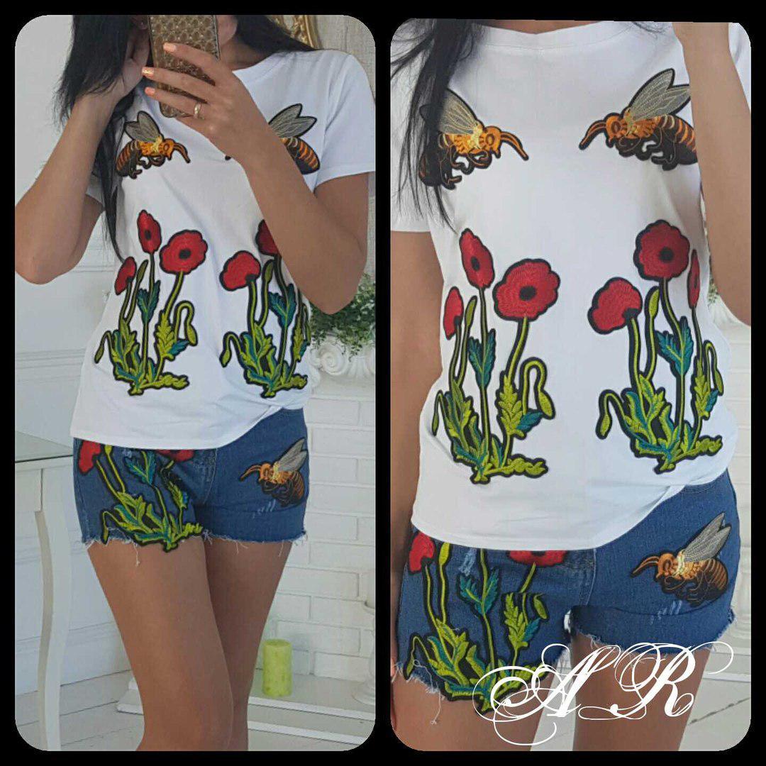 Костюм шорты и футболка вышивка пчелы и маки