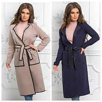 Кашемировое женское пальто с кожаной окантовкой