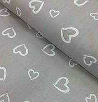 Ткань для детского постельного белья, поплин Сердечки на сером