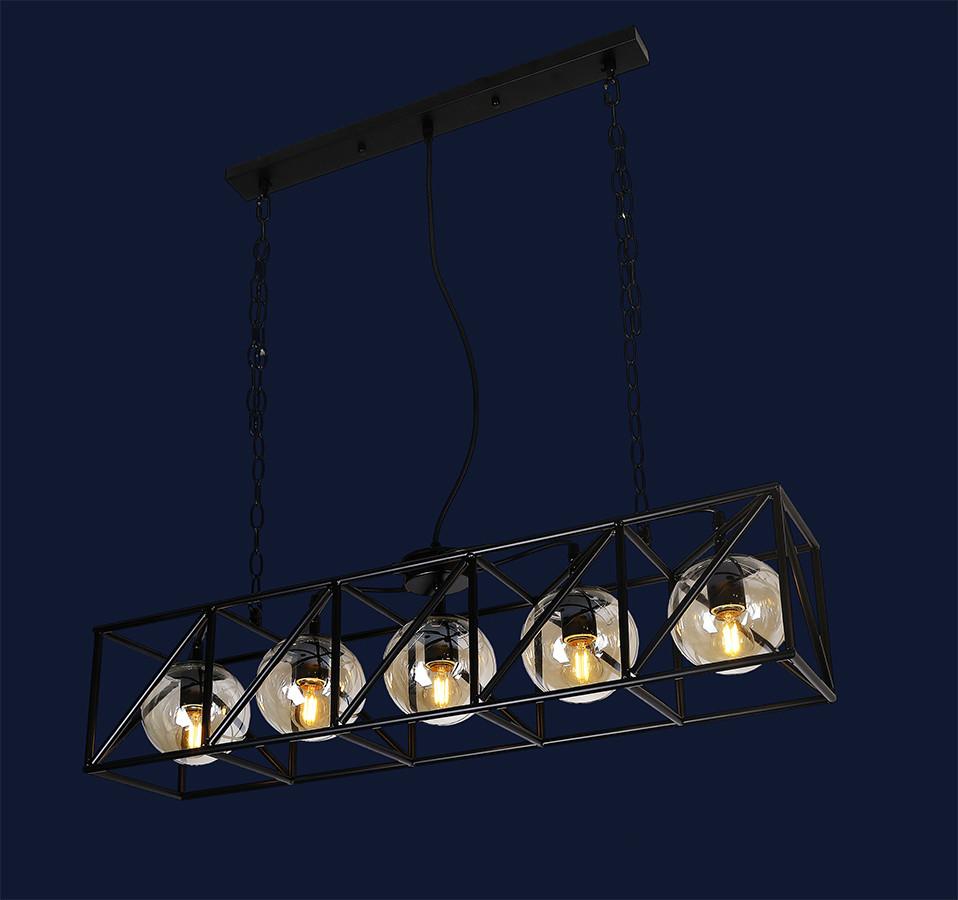 Подвесная люстра на пять ламп 761CT05-5 BK
