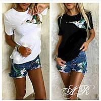 Костюм шорты и футболка с накаткой колибри