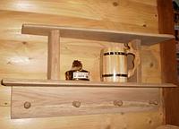 Полка банная с вешалкой на 4 крючка
