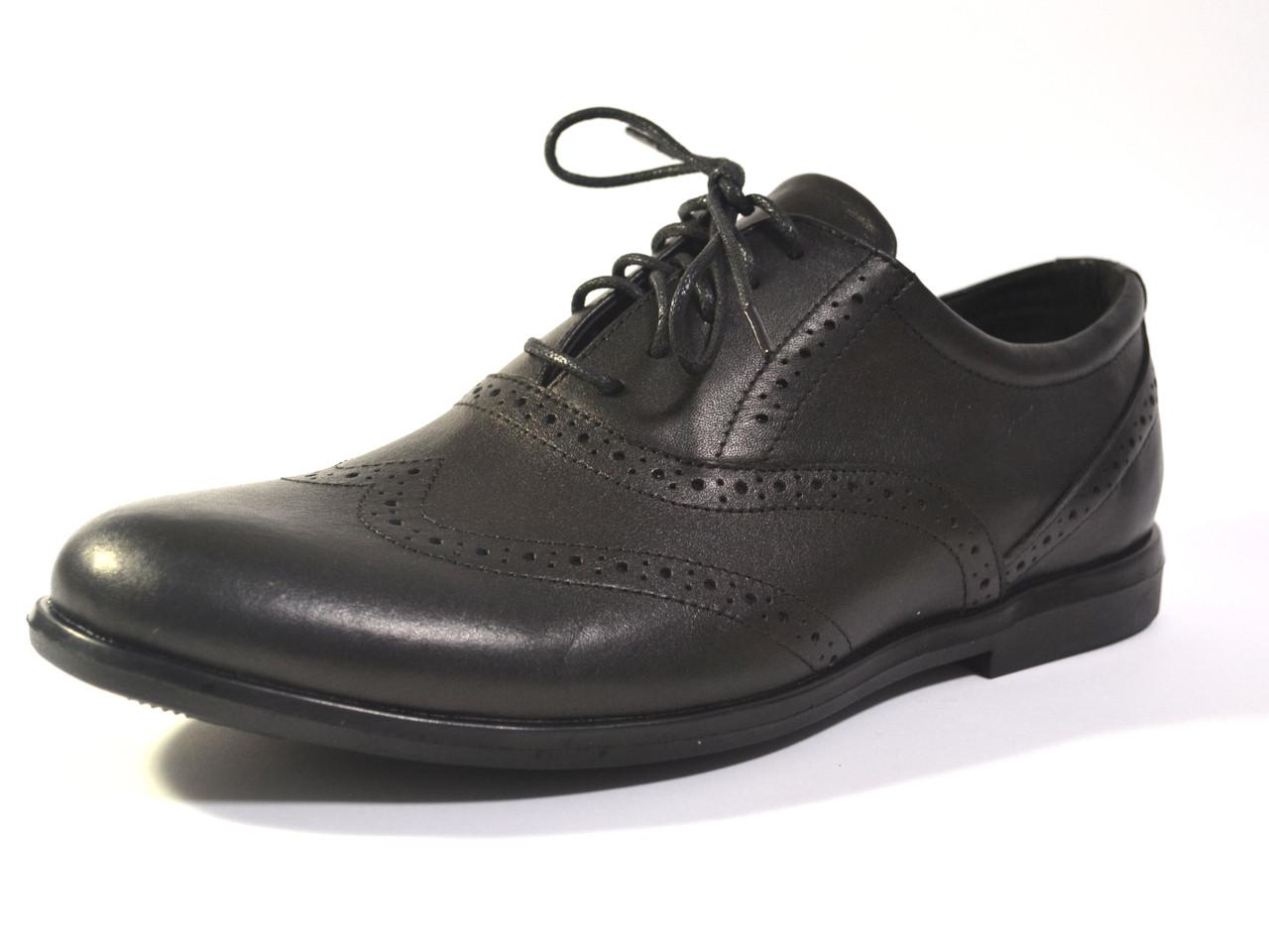 Туфли мужские комфорт кожаные броги на каждый день черные Rosso Avangard Felicete Crock trend