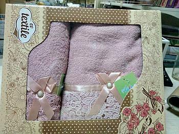 Набір махрових рушників 2 шт рожеве Мереживо
