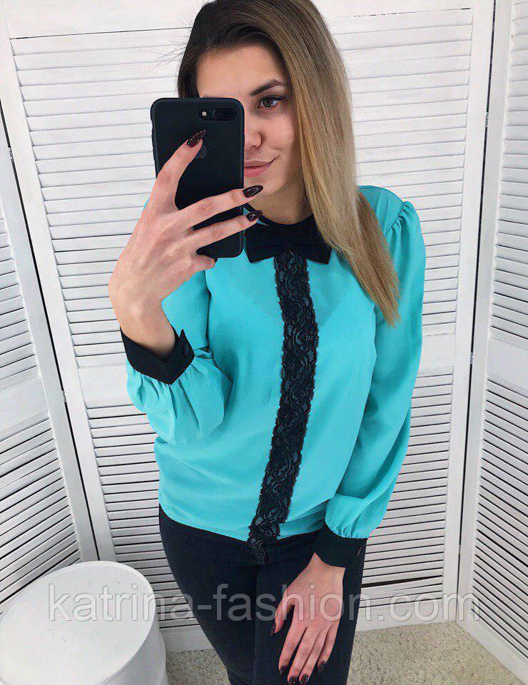Женская стильная шифоновая блуза с кружевом (2 цвета)