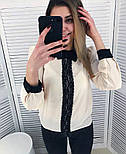 Женская стильная шифоновая блуза с кружевом (2 цвета), фото 2