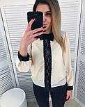 Женская стильная шифоновая блуза с кружевом (2 цвета), фото 3