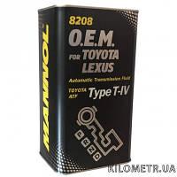 Масло трансмиссионное синтетическое  TOYOTA  ATF TYPE T-IV 4л Жесть банка