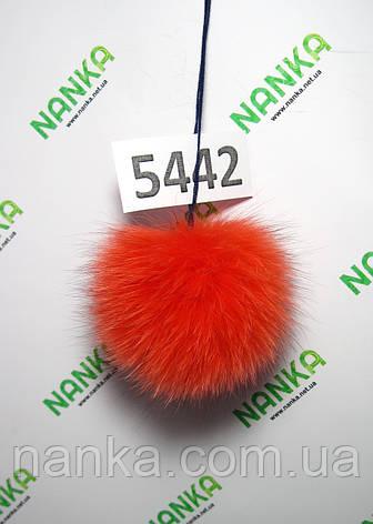 Меховой помпон Песец, Алый, 9 см,  5442, фото 2