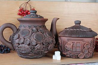 Чайна пара: Глиняний заварник на 1л і цукорничка на 800гр оздоблені в одному стилі