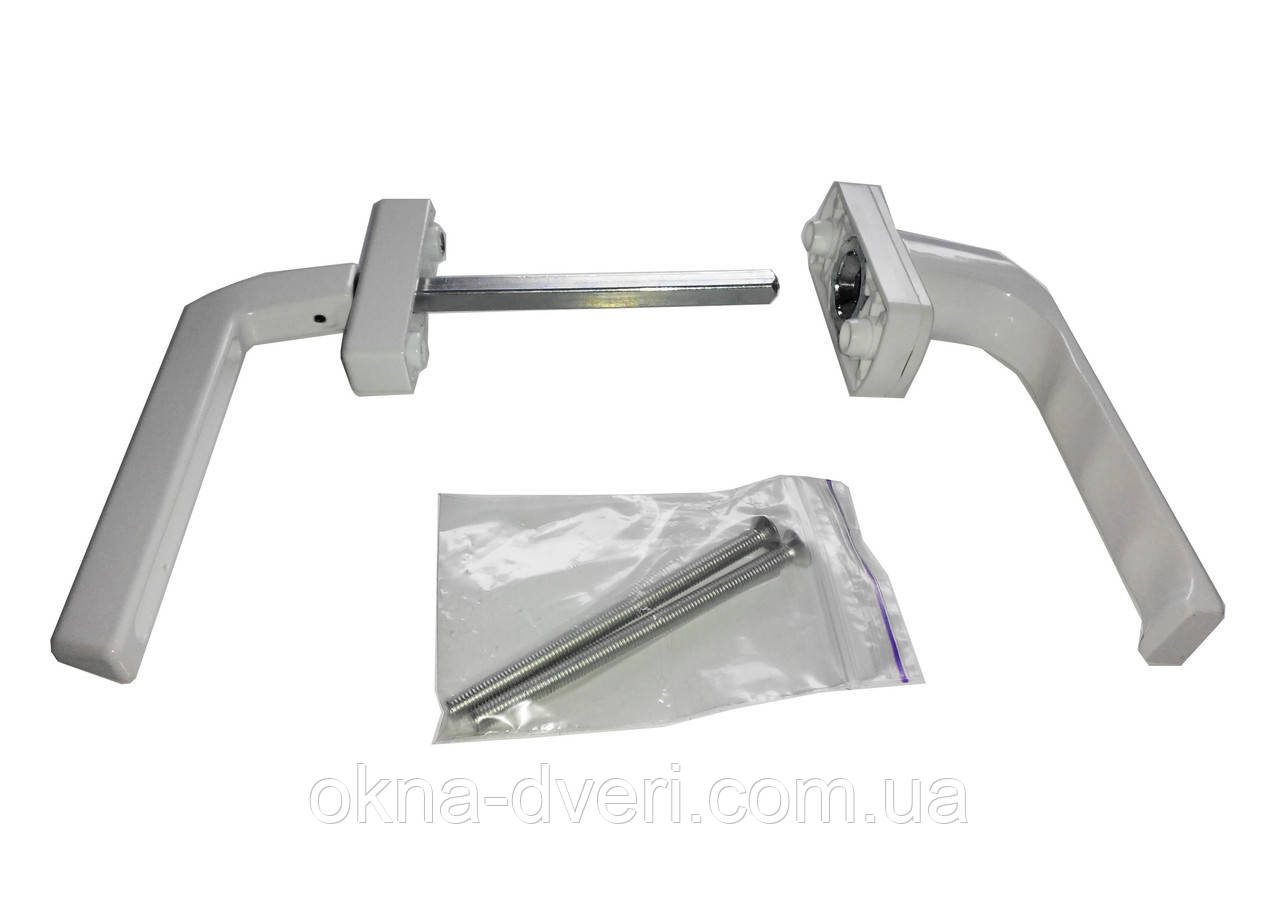 Ручка двухсторонняя на балконную металлопластиковую дверь Оконная - Гриф (узкая). Цвет белый.