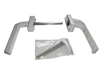 Ручка двухсторонняя на балконную металлопластиковую дверь Оконная - Гриф (узкая) Цвет белый