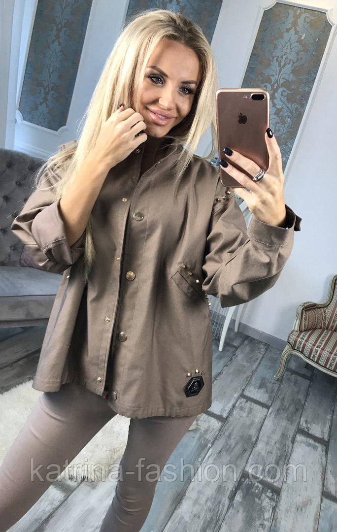 Женская стильная джинсовая куртка-парка с нашивкой из пайетки (в  расцветках) - KATRINA 1fac03a4be5