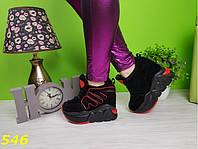 Кеды женские на танкетке с надписью, черные, легкие, красивые, спортивная удобная обувь, фото 1