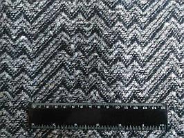 Пальтовая Ткань Букле полушерсть Черно Белая