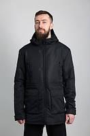 Куртка мужская весенняя, парка WM6 Blk черная с капюшоном, на флисе (осень-весна, демисезонная)