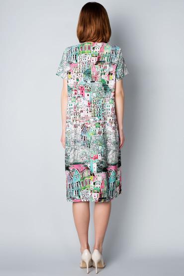 Летнее женское платье из стрейч-шифона П27