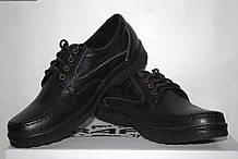 Туфлі чоловічі шкіряні 40-45 Traffic арт 303 чорні флотар.