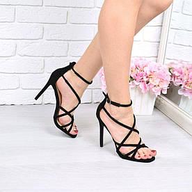 Женские чёрные босоножки паутинка на каблуке шпильке