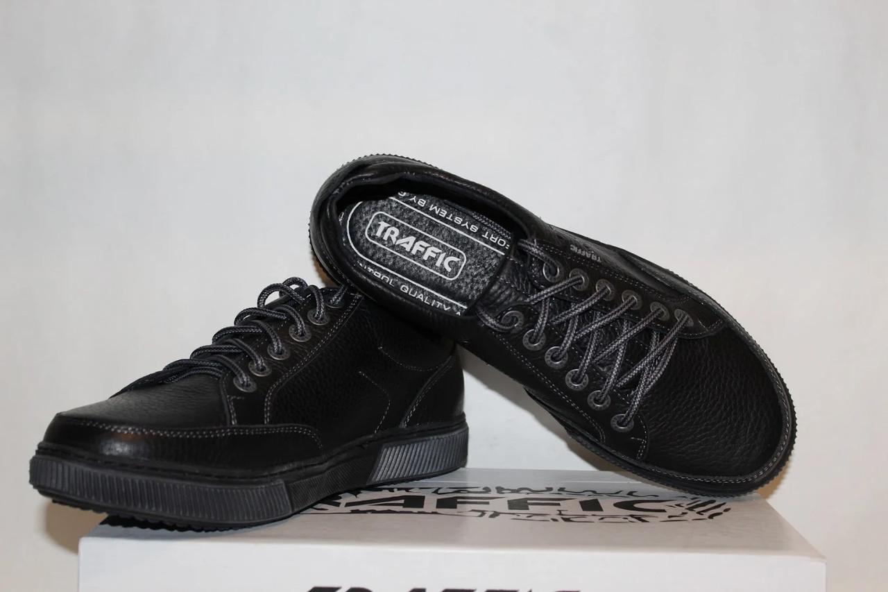 Туфли мужские кожаные 40-45 Traffic арт 88 черные флотар.