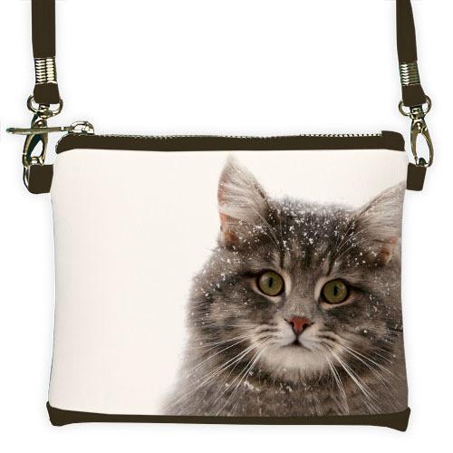 Черный мини клатч для девочки с принтом Кошка