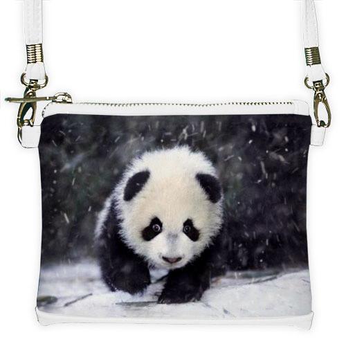 Белый мини клатч для девочки с принтом Панда