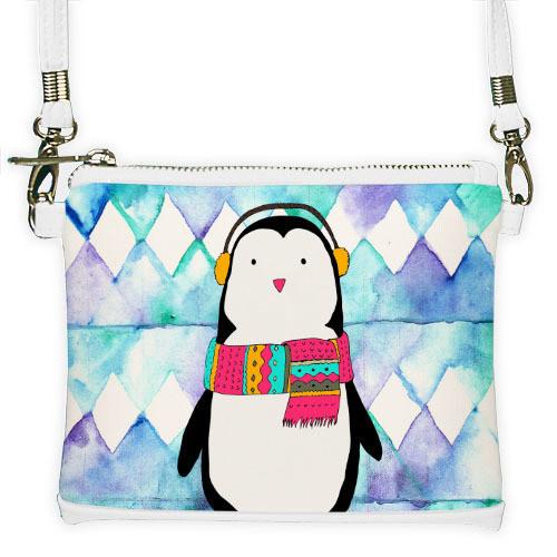 Белый мини клатч для девочки с принтом Пингвин