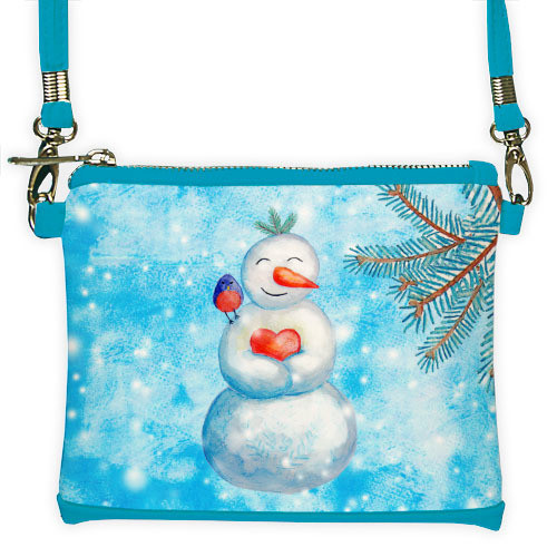 Голубой мини клатч для девочки с принтом Снеговичок