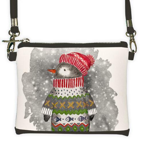 Серый мини клатч для девочки с принтом Пингвин