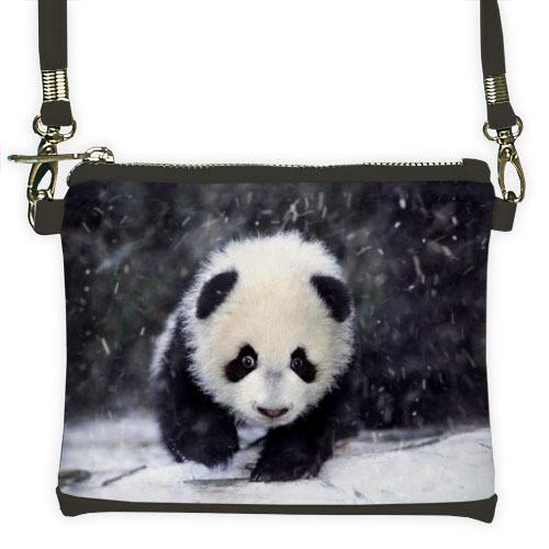 Серый мини клатч для девочки с принтом Панда