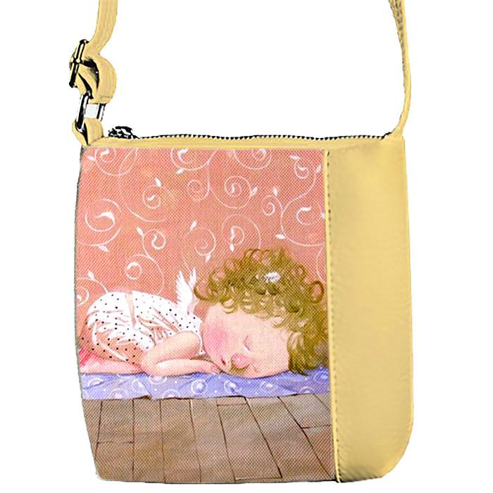 Бежевая сумка для девочки с принтом Гапчинская йога