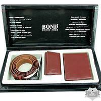 Подарочный набор для мужчин (ремень, бумажник, ключница) Bond