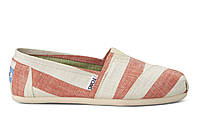 Женские TOMS Coral and White Stripes Women's Classics, фото 1