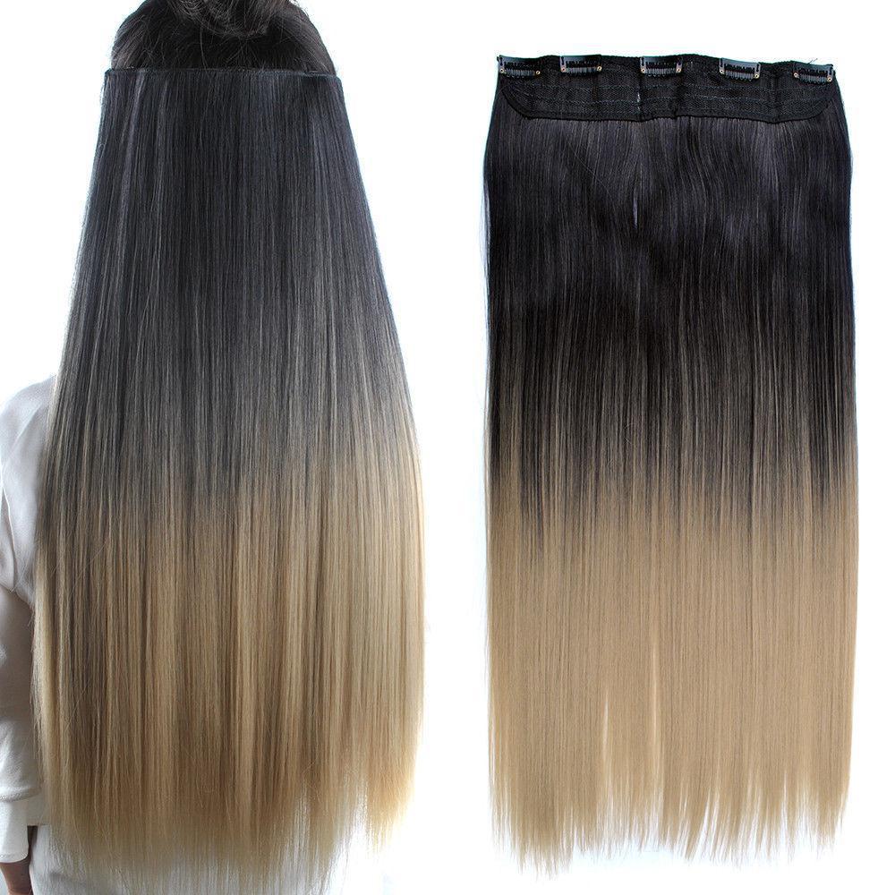 Волосы на заколках затылочная термо волосы тресс омбре черный/светло-р