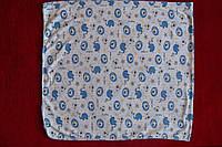 Пеленка хлопковая легкая синие слоники размер 1м х 1,10м