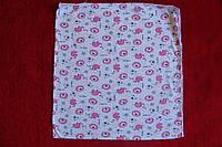 Пеленка хлопковая легкая розовые слоники размер 1м х 1,10м