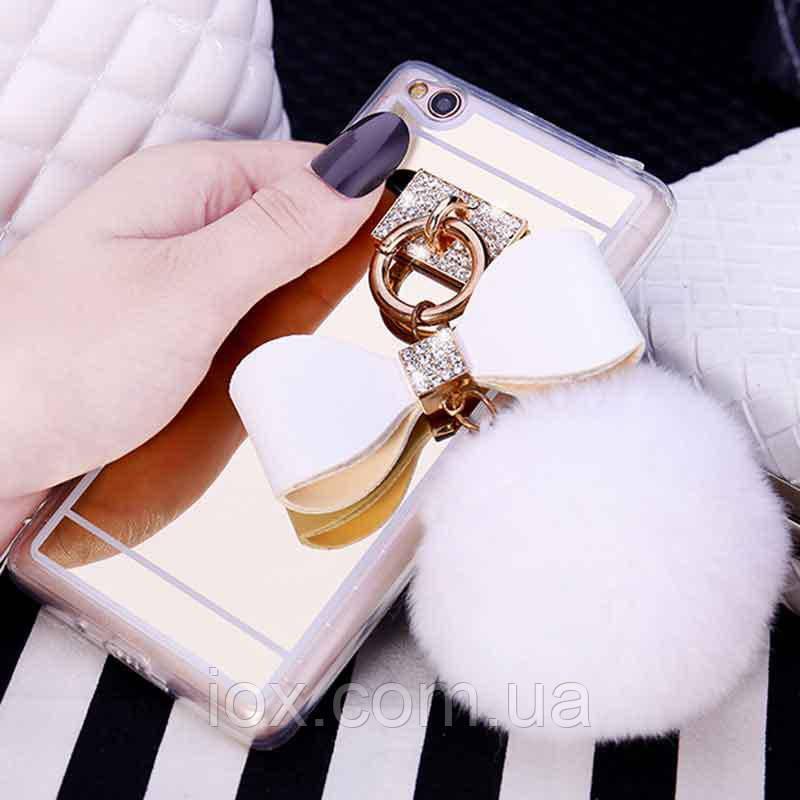 Белый зеркальный чехол с пушистым хвостиком для Xiaomi Redmi 4X
