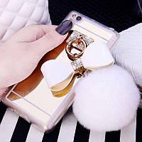 Белый зеркальный чехол с пушистым хвостиком для Xiaomi Redmi 4X, фото 1