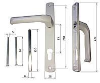 Нажимной гарнитур для двери из ПВХ 85/28 мм., 2 винта. без пружины.