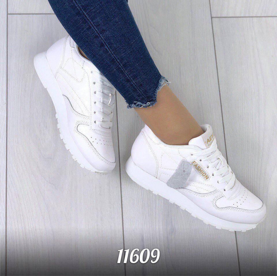 Женские натуральные кожаные белые кроссовки Reebok Classic копия