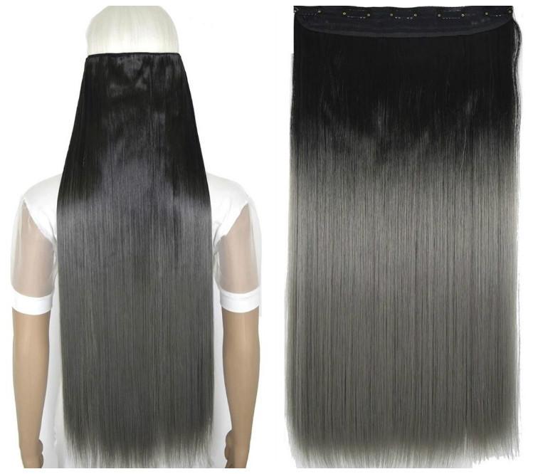 Волосы на заколках затылочная термо волосы тресс омбре черный темно-се