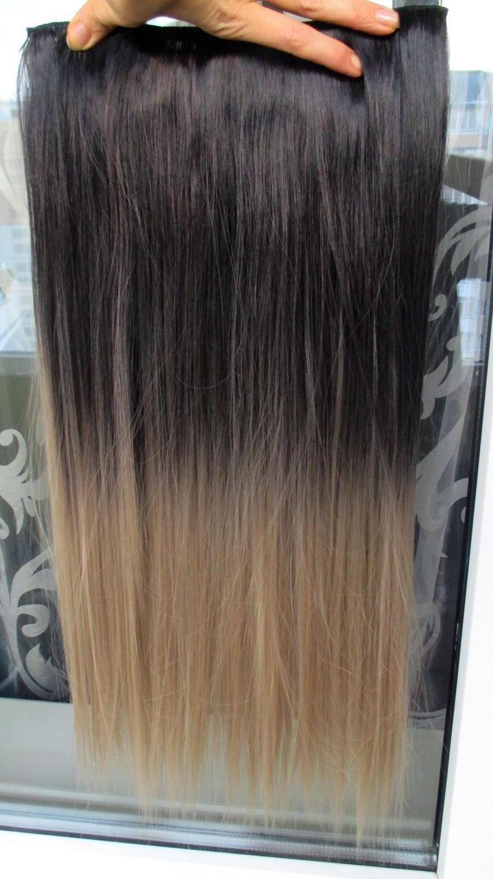 Волосы на заколках затылочная термо волосы тресс омбре длина 65см Реал
