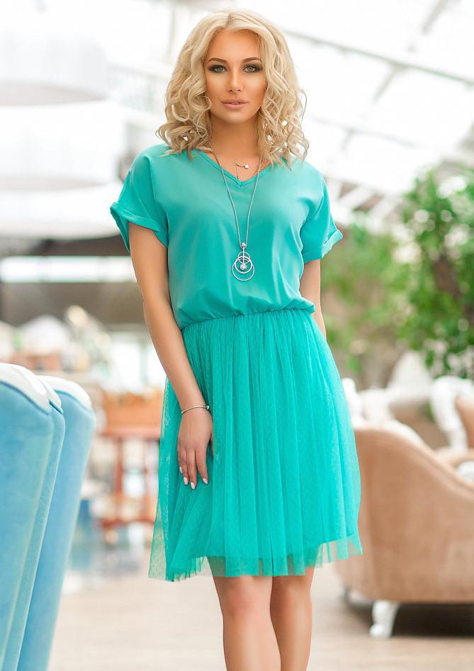 4f94566f8d5 Женственное летнее платье ментолового цвета с коротким рукавом. Модель  17512. Размеры 42-48