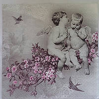 "Салфетка для декупажа ""Ангелы в цветах"", 33х33 см, 10"