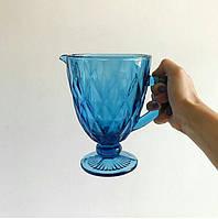 """Графин из цветного стекла """"Изумруд синий"""" Цветной графин ромб"""