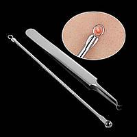 Инструменты для чистки лица косметологические профессиональные (пинцет изогнутый+ложка Уно двусторонняя)