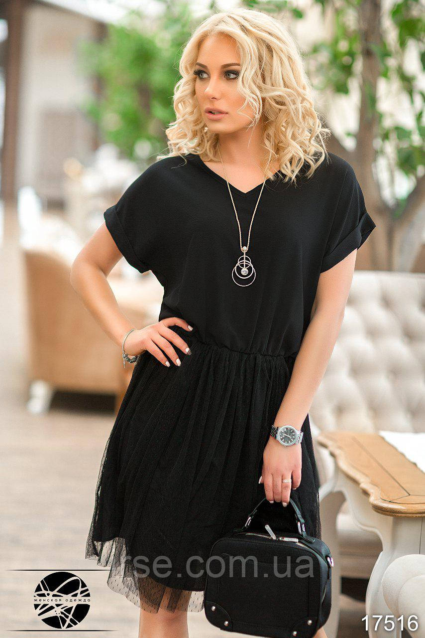 56ef7daea5c Женственное летнее платье черного цвета с коротким рукавом. Модель 17516.  Размеры 42-48