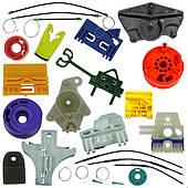 Элементы стеклоподъёмников, направляющие держатели, ролики, тросики, скрепки, фиксаторы, рекомплекты
