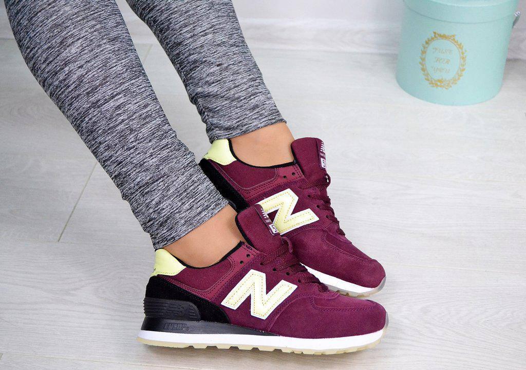 Женские натуральные замшевые бордовые кроссовки New Balance копия