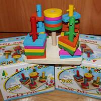 """Дерев'яна розвиваюча іграшка """"Пірамідка-ключ"""""""